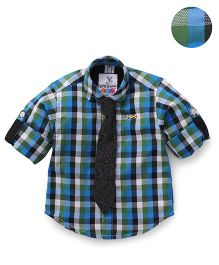 Oks Boys Full Sleeves Party Wear Check Shirt And Tie - Blue Green