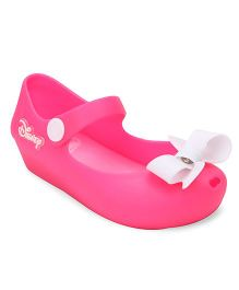 Disney Bellies With Snap Button Closure & Bow Applique - Pink & White