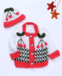 The Original Knit Cherry Design Sweater With Cap - White & Red