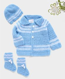 The Original Knit Striped Sweater With Cap & Socks - Ice Blue