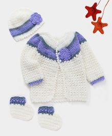 The Original Knit Sweater & Booties Set With Flower Applique Cap - Off White