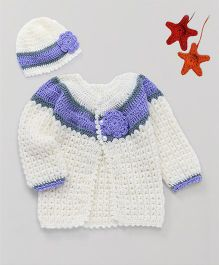 The Original Knit Flower Applique Sweater With Cap - Off White