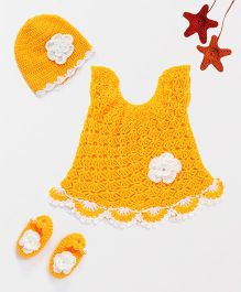 The Original Knit Crochet Flower Embellished Dress With Cap & Booties - Yellow