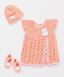 The Original Knit Crochet Flower & Pearl Embellished Dress With Cap & Booties - Peach