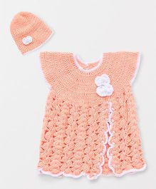 The Original Knit Crochet Bow Dress & Cap Set - Peach