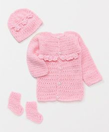 The Original Knit Flower & Pearl Embellished Sweater With Cap & Booties - Baby Pink