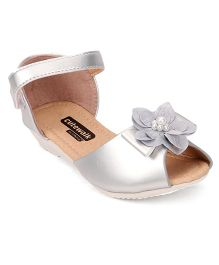 Cute Walk by Babyhug Party Wear Sandals Floral Applique - Silver