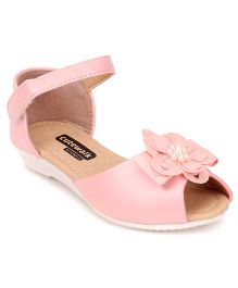 Cute Walk by Babyhug Party Wear Sandals Floral Applique - Pink