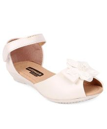 Cute Walk by Babyhug Party Wear Sandals Floral Applique - White