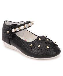 Cute Walk by Babyhug Party Wear Belly Shoes Floral Motifs - Black