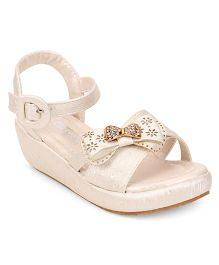 Cute Walk by Babyhug Sandal Studded Bow Buckle Closure - Beige