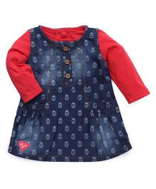 Little Kangaroos A Line Frock With Inner Tee - Red And Blue