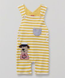 Babyhug Striped Dungaree Romper Sailor Patch - Yellow
