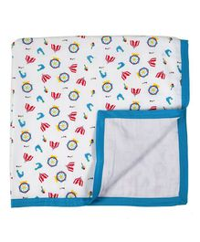My Milestones Two Layered Muslin Blanket - White Blue