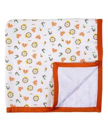 My Milestones Three Layered Muslin Blanket - White Orange