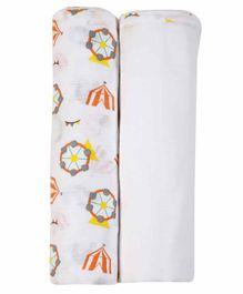 My Milestones 3 In 1 Muslin Swaddle - White Orange