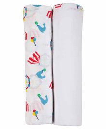 My Milestones 3 In 1 Muslin Swaddle - White Blue