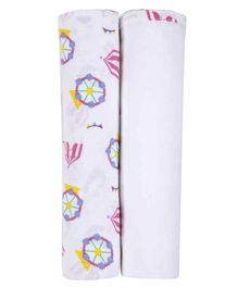 My Milestones 3 In 1 Muslin Swaddle - White Pink