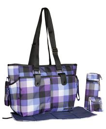 My Milestones Diaper Bag Diva Tote - Lavender Checks