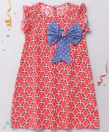 Sorbet Printed Tunic Dress With Big Bow - Red