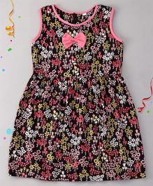 Sorbet Printed Rayon Dress With Bow And Buttons - Black