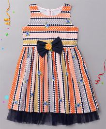 Sorbet Stripes Dress With Bow And Frill - Multicolour