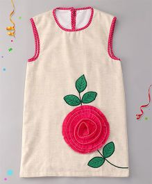 Sorbet Tunic With Applique Flower - Cream