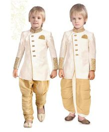 Ethnik's Neu Ron Kurta Jodhpuri Breeches And Dhoti Set - Cream & Brown