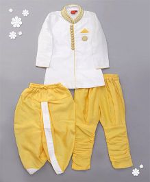 Ethnik's Neu Ron Kurta Jodhpuri Breeches And Dhoti Set Embellished Neckline - Golden & White