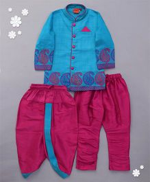 Ethnik's Neu Ron Kurta Pajama Set With Dhoti Paisley Design - Turquoise Blue And Pink
