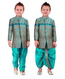 Ethnik's Neu Ron Kurta Jodhpuri Breeches And Dhoti Set - Turquoise Blue