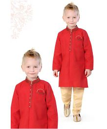 Ethnik's Neu Ron Kurta Pajama Set - Red & Cream