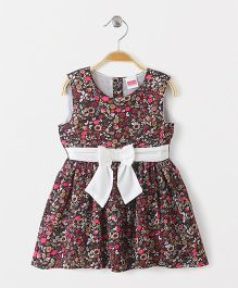 Babyhug Sleeveless Frock With Full Lining Floral Print - Dark Brown