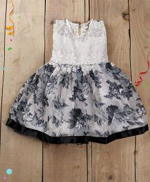Tiny Toddler Chikan Work Top With Chiffon And Satin Floral Flare - Grey