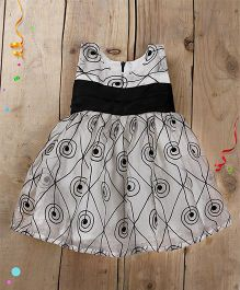 Tiny Toddler Black Embroidery Dress With Satin Waistband - Black