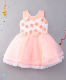 Eiora Sleeveless Party Wear Dress - White & Peach