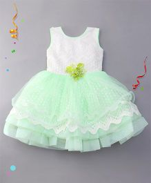Eiora Partywear Dress With Attached Flower - Green