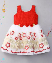 Eiora Sleeveless Party Wear Dress - Red & White