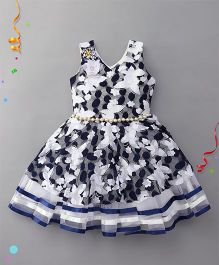 Eiora Floral Party Wear Dress - Navy Blue & White