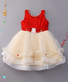 Eiora Partywear Dress With Attached Flower - Red & Cream