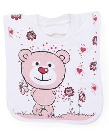 Mee Mee Bib Velcro Closure Teddy Embroidery (Color May Vary)