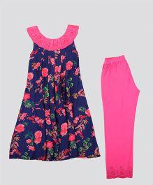 Hugsntugs Floral Printed Kurti With Stylish Collar & Pajama Set - Navy Blue & Pink