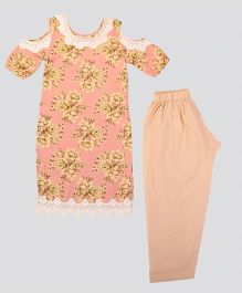 Hugsntugs Floral Printed Lace Work Design Kurti With Cold Shoulders & Pajama Set - Peach