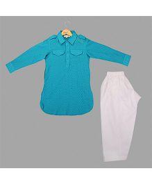Hugsntugs Dot Print Full Sleeves Kurta & Pajama Set - Blue & White