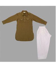 Hugsntugs Full Sleeves Kurta With 2 Front Pockets & Pajama Set - Brown & White