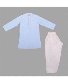 Hugsntugs Striped Kurta With Stylish Collar & Pajama Set - Blue & White