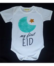 Hugsntugs Start & Moon Print My First Eid Onesie - White
