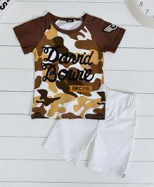 Wonderland Military Print Tee & Shorts Set - Brown & White