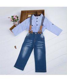 Wonderland Smart Shirt & Denim Pant Set With Suspenders - Blue