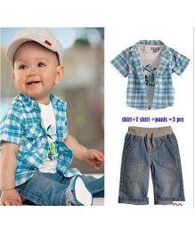 Wonderland Checkered Shirt With Printed Tee & Shorts Set - Blue